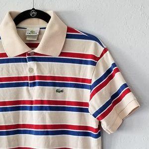 Lacoste Cream Striped Vintage Polo Medium